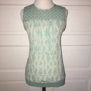 LOFT blue White Floral Sleeveless Top crochet XS